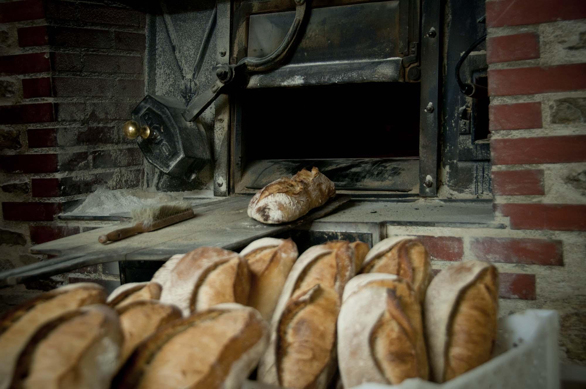 baguettes de pain enfournées dans lefour au feu de bois, boulangerie Ste Fauste, bozouls, aveyron, 3clt