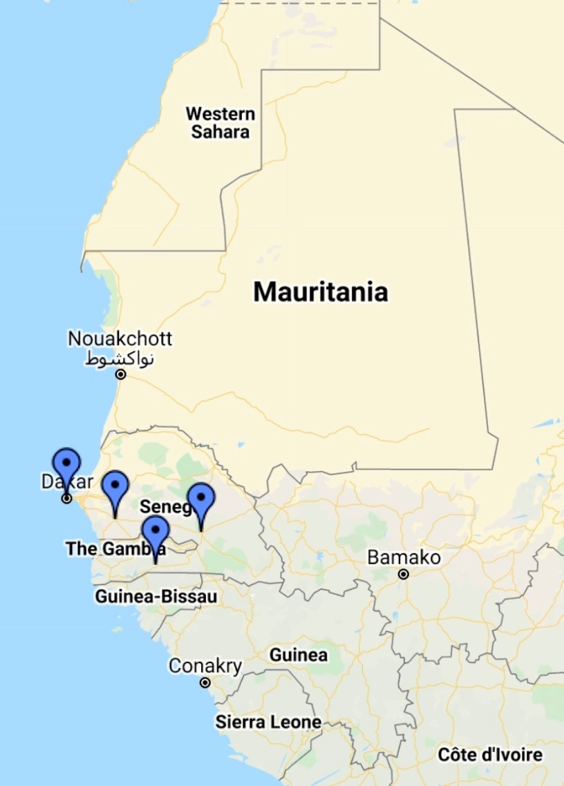Gambia-Senegal-GuineaBissau-Mauritania-GoogleMaps