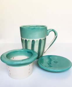 taza para infusiones de cerámica con tapa y colador color verde