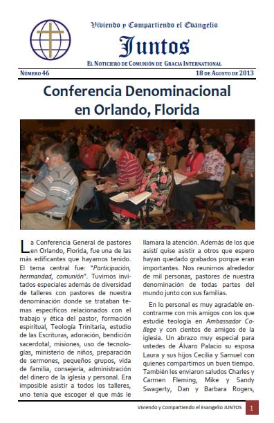 Noticiero Juntos No. 46     Conferencia en Orlando – Informe de Monterrey