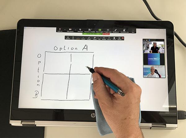 Skizzieren auf einem Tablet statt auf einem Flipchart