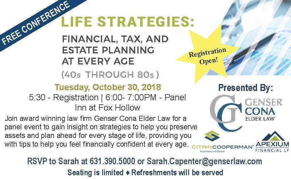 Life Strategies free conference from Cona Elder Law