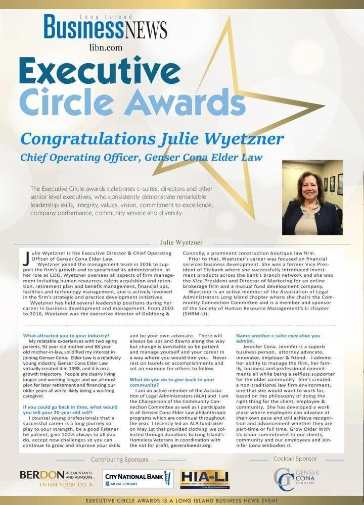 Congratulations Cona Elder Law COO, Julie Wyetzner