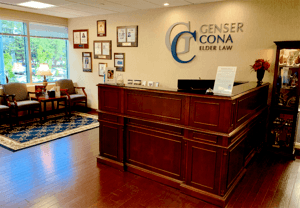 Cona Elder Law's front desk and waiting area