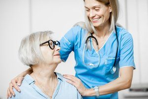 A woman with her nurse through medicaid home care