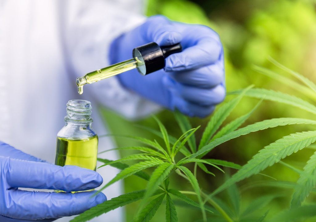 Cannabis being extracted from a bottle