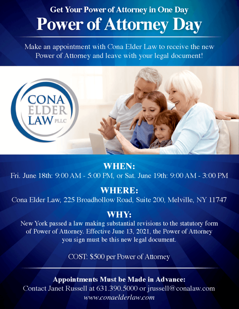 Power of attorney day flyer for an event held at Cona Elder Law