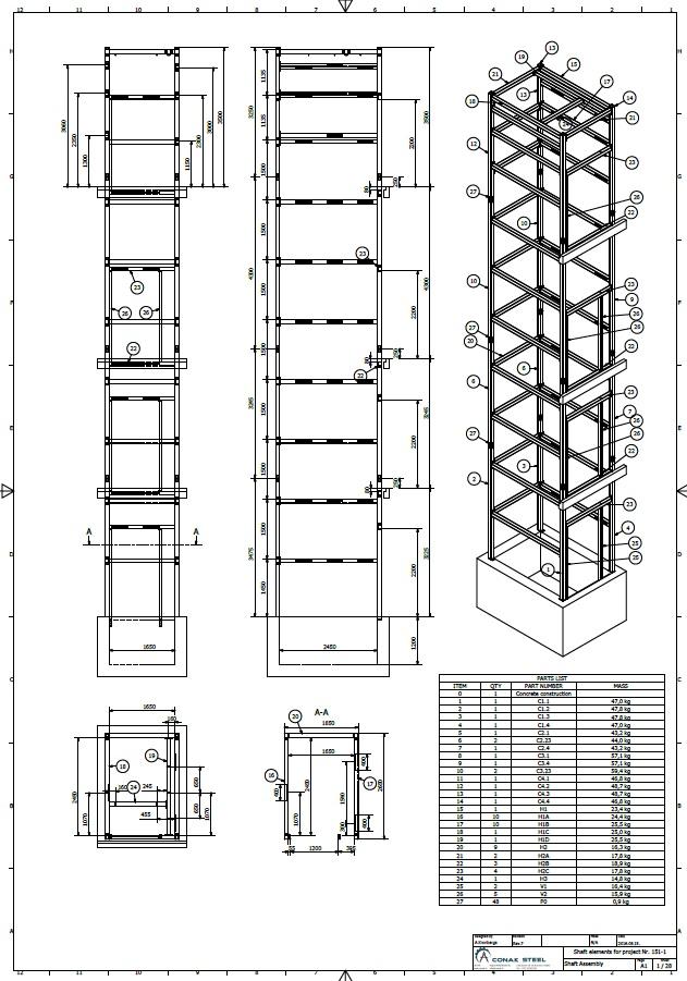MODULE TYPE ELEVATOR SHAFTS