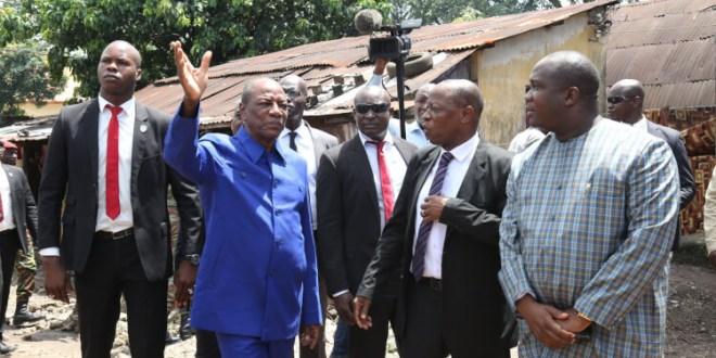 Le Président Alpha Condé visite les domaines du Patrimoine bâti public