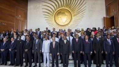 Les chefs d'État africains posent pour une photo de famille lors de la cérémonie d'ouverture du sommet de l'Union africaine à Addis-Abeba, le 28 janvier 2018. © Mulugeta Ayene/AP/Sipa