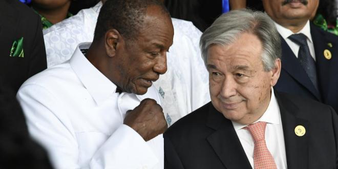 Alpha Condé et le secrétaire général des Nations unies, António Guterres