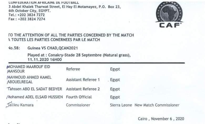 Guinée vs Tchad : Le Commissaire du match remplacé par la CAF