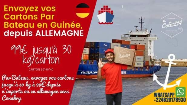 Envoyez un colis par bateau Allemagne vers la Guinée Conakry