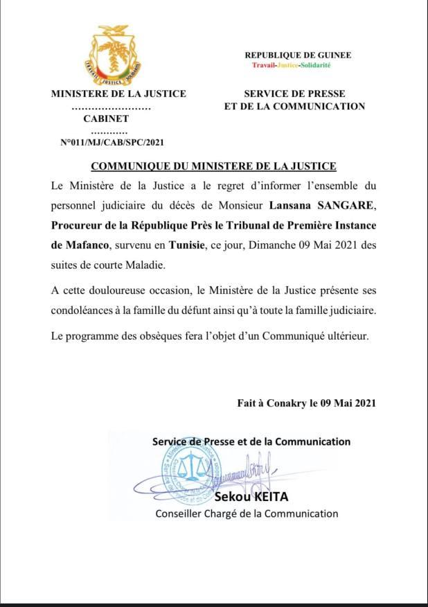 NÉCROLOGIE COMMUNIQUE DU MINISTERE DE LA JUSTICE