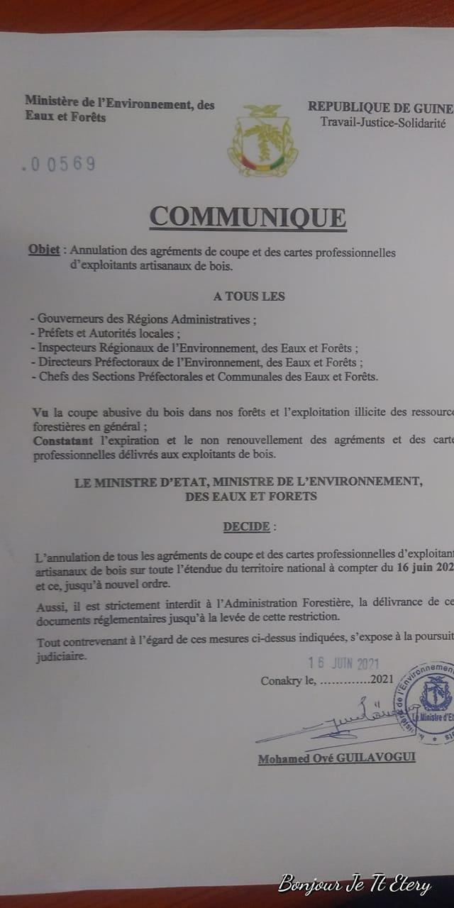 Communiqué à l'intention de tous les acteurs de l'administration forestière et autres intervenants dans la filière bois .