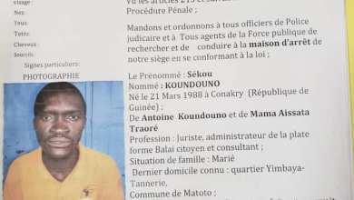Mandat d'arrêt international décerné à l'encontre de monsieur Sékou Koundouno
