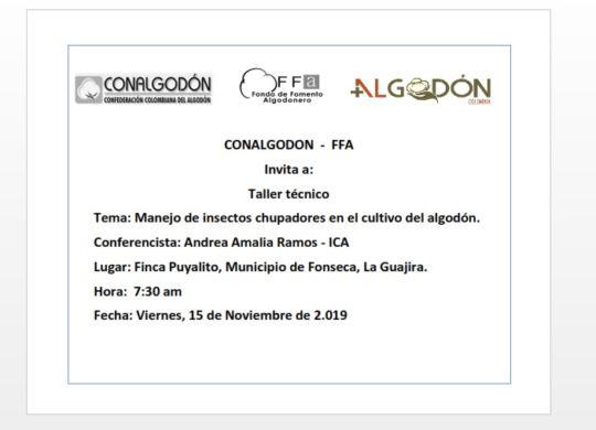 INVITACION TALLER TECNICO MANEJO DE INSECTOS - 15 NOV 2019