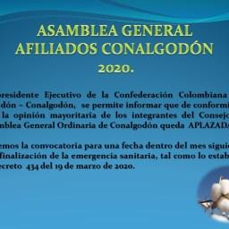 Se aplaza la Asamblea General Afiliados Conalgodón 2020