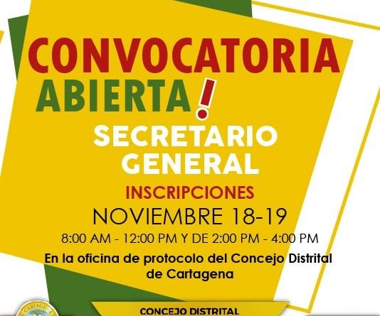Convocatoria Elección Secretario General del Concejo de Cartagena