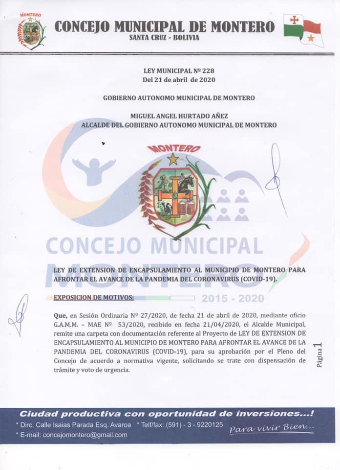 Se aprueba Ley de extensión de encapsulamiento en Montero hasta el día miércoles 29 de abril 2020.