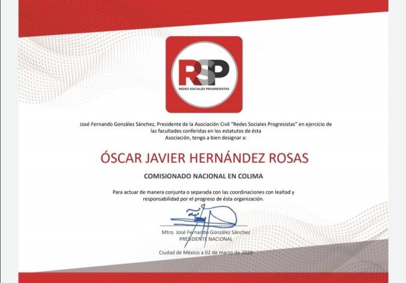 Redes Sociales Progresistas Colima - Oscar J. Hernández Rosas Comisionado Nacional en Redes Sociales Progresistas en Colima - #Noticias