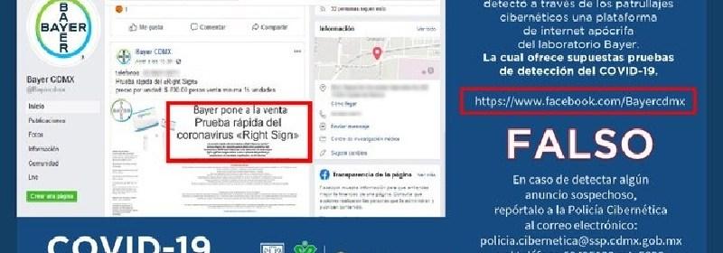 alerta  - Desenmascaran sitio de falsa venta de pruebas Covid de Bayer
