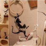 bansky - ¿Y qué hace Banksy encerrado en su casa? Pintar el baño con ratas y molestar a su esposa (FOTOS)