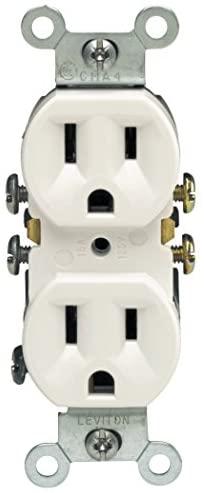 Leviton 5320Receptáculo dúplex, 15Amp, 125V, grado residencial, toma de tierra, todos los tornillos hacia fuera, 10 unidades, Blanco
