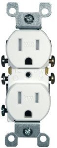Leviton W5320-T0W 15 Amp, 125 Volt, Weather and Tamper Resistant, Duplex Receptacle, Grounding, Side and Quickwire, White