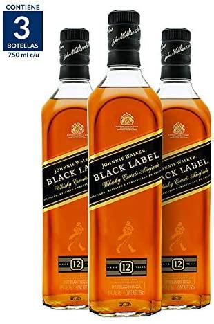 Whisky Johnnie Walker Black Label 750ML (Paquete de 3)