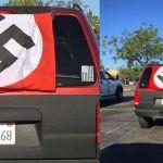 nazi flag 1 - Latino de San Diego que cubre su auto con bandera nazi se dice víctima de agresión
