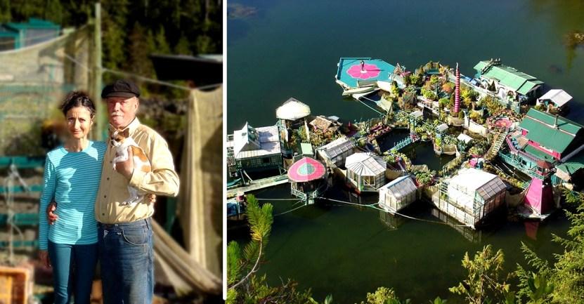 pareja casa flotante - Pasaron 20 años construyendo la casa de sus sueños: Una verdadera isla flotante y autosuficiente