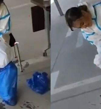 doctora - VIDEO: Doctora saca un charco de sudor de traje protector contra coronavirus en hospital de China