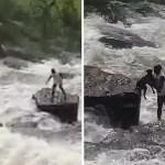 Fondo perro rescatado represa - Héroe: Hombre arriesgó su vida para rescatar a perro que se lo había llevado la corriente. Lo salvó