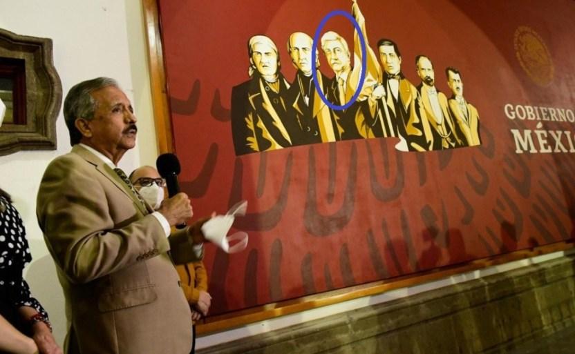 amlo junto a hxros nacionales1 crop1611812813034.jpg 242310155 - Inauguran mural de AMLO como héroe nacional en Culiacán, Sinaloa