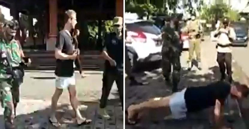 bali indonesia flexiones mascarillas001 - En Indonesia, autoridades están ordenando hacer 50 flexiones si no llevas tapabocas. Ponen mano dura