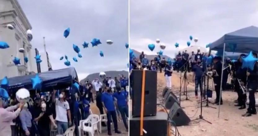 """funeral 3 - VIDEOS: Con globos y música de banda, familiares despiden al hijo del líder narco """"El Azul"""" en Sinaloa"""