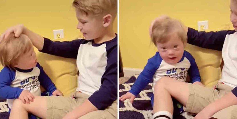 madre hijo tripp001 1 - Madre encontró a su hijo mayor cantándole a su hermanito con síndrome de Down. Es su principal apoyo