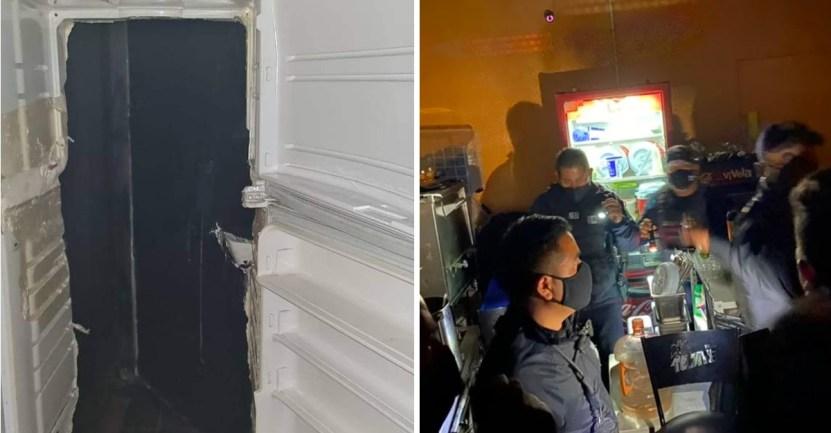 refri bar - Jóvenes usan un refrigerador falso para entrar a bar clandestino en Pachuca. Aumentan los contagios