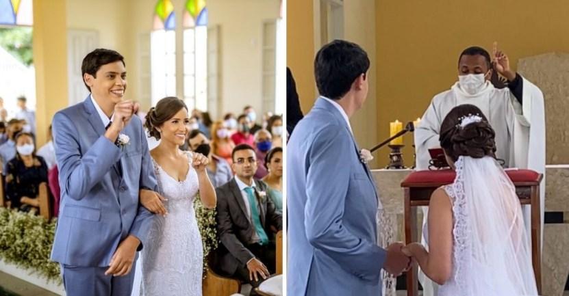 pareja lenguaje senas boda - Sacerdote ofició boda en lenguaje de señas para pareja sorda. Los novios quedaron sorprendidos