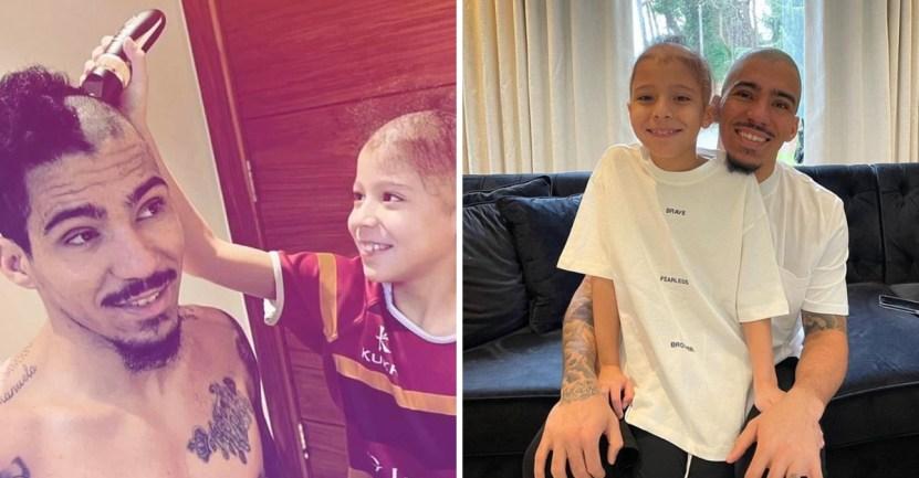 pelo hijo futbolista - Futbolista rapó su cabeza en apoyo a su hijo con alopecia. No tiene pelo, pero si un gran padre
