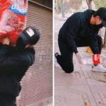 joven alimenta perros 1 - Joven recorre las calles de España para alimentar a perros callejeros. Abandonados en pandemia