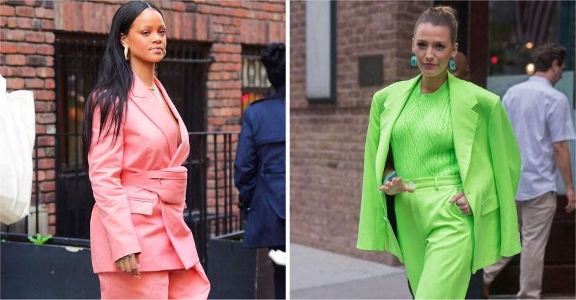 trajes coloridos - 22 veces que las famosas se lucieron con trajes coloridos. Kendall los usa sin camiseta ni sujetador