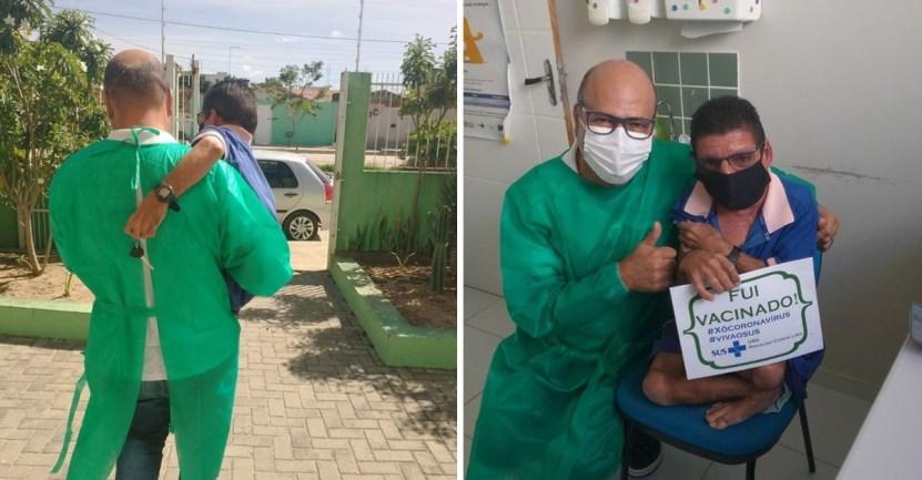 enfermero vacuna cargo - Enfermero cargó en brazos a paciente con discapacidad luego de vacunarlo. Lo llevó hasta su vehículo