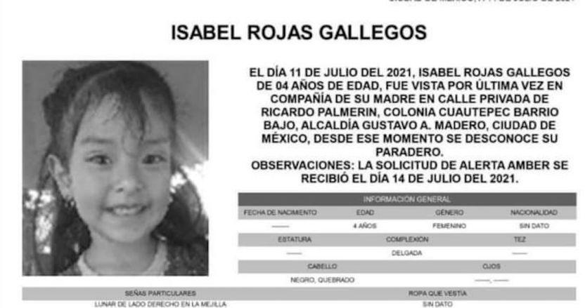 photo5152559187568470386 - Alerta Amber   Isabel Rojas, de 4 años, desparece en Gustavo A. Madero, CdMx – SinEmbargo MX
