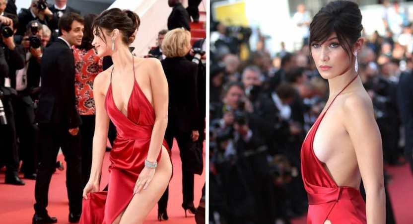 bella hadid cannes - Bella Hadid confesó que está avergonzada del sensual vestido que usó en Cannes 2016