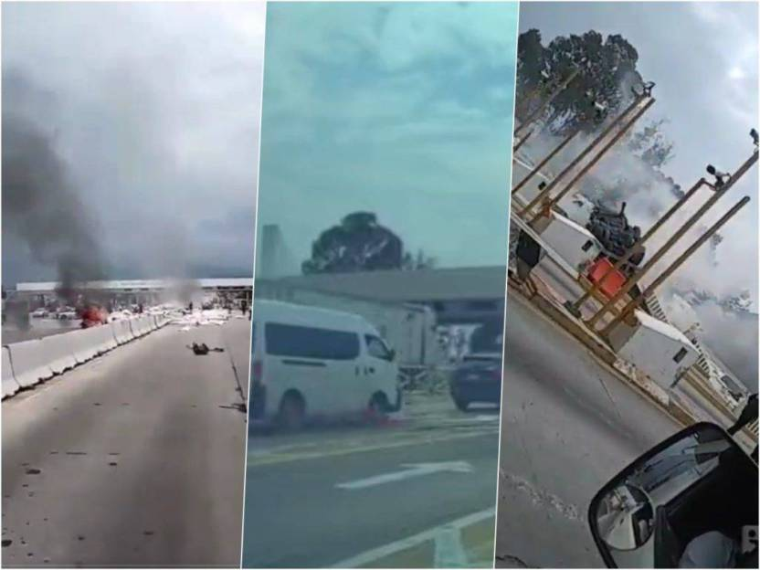 videos choque trailer 1024x768 - Video: Momento exacto cuando tráiler choca en caseta de la México-Puebla