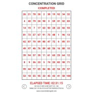 Concentration Grid is a web/mobile device app implementation of a mental skills training exercise for students, athletes, coaches, sports performance/psychology staff, trainers, teachers, parents, etc. Use concentration grids a/k/a mental focus grids with student-athletes as a tool for assessment, development, practice/exercise of attention skills ... and for competitive challenge and fun. Generate grids in varying sizes of between 3 and 14 columns/rows - small grids test speed/dexterity ... larger grids exercise focus/attention skills. Convenient gameplay/replay. History tracking (time/performance data). Share feature is integrated with social media. Post and track best gridtimes at the leaderboard. Make self-development a daily habit. #concentrationgrid #challengeyourself - concentrationgrid.com - concentrationgrid.net - tryconcentrationgrid.com