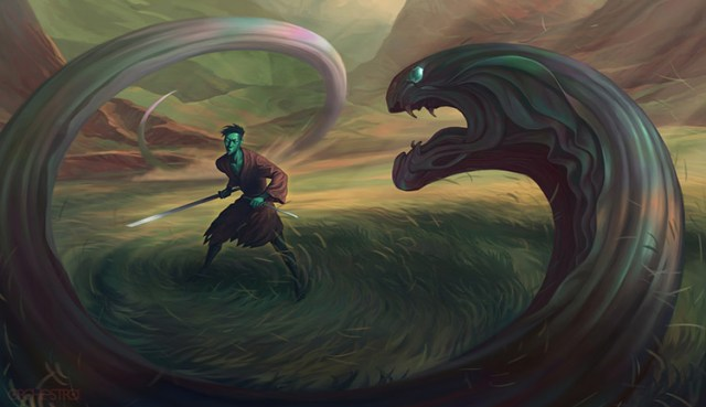 samurai ronin dragon battle art concept
