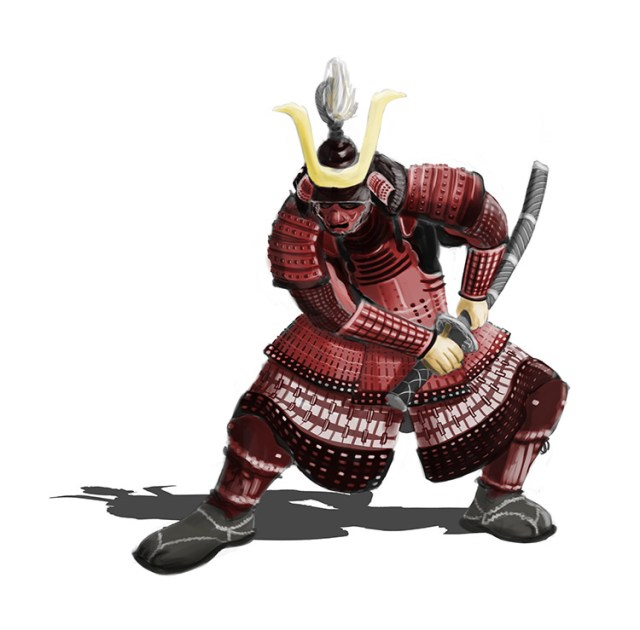 samurai warrior concept art sketch